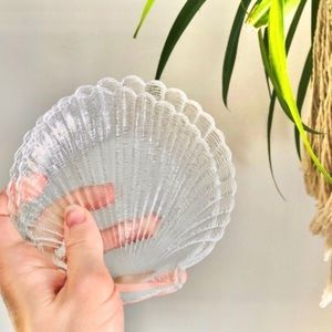 Two Glass Seashell Trinket Soap Bathroom Dishes
